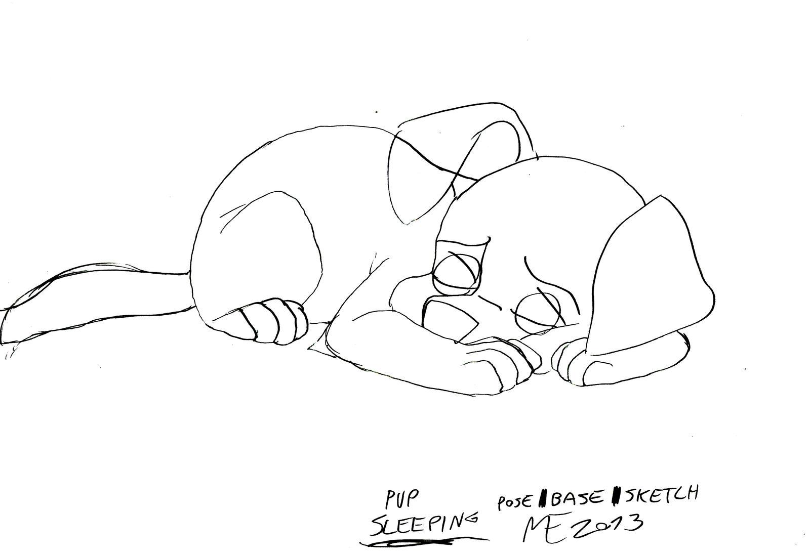 Wolfdog Pup Sleeping Base Sleeping Dog Drawing