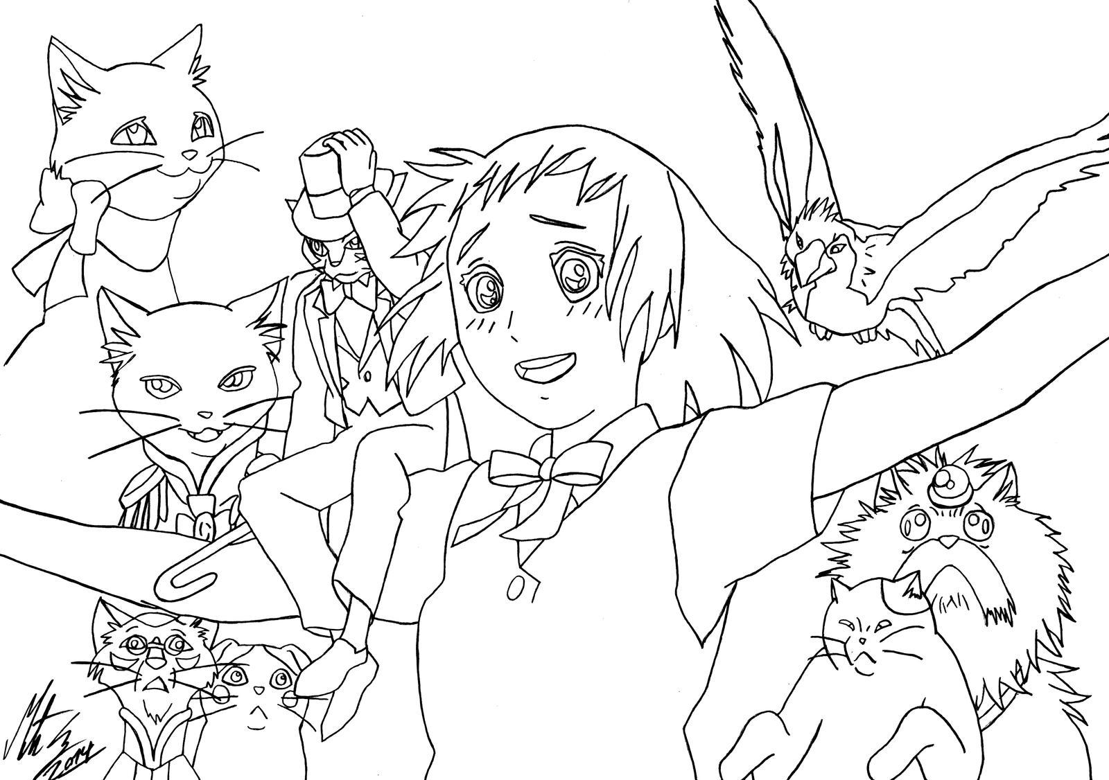 princess cat coloring pages - princess mononoke coloring pages sketch coloring page