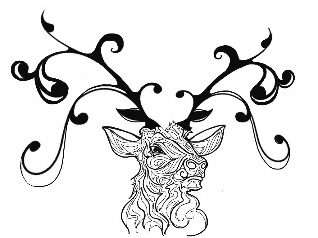 Line Art Tattoo Designs : Tattoo design abstract buck by johnnyschick on deviantart