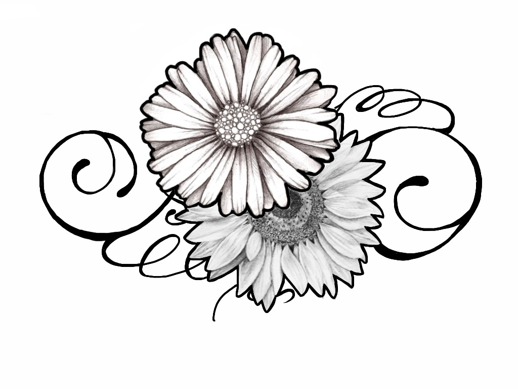 tattoo design daisy and sunflower swirly by johnnyschick on deviantart. Black Bedroom Furniture Sets. Home Design Ideas