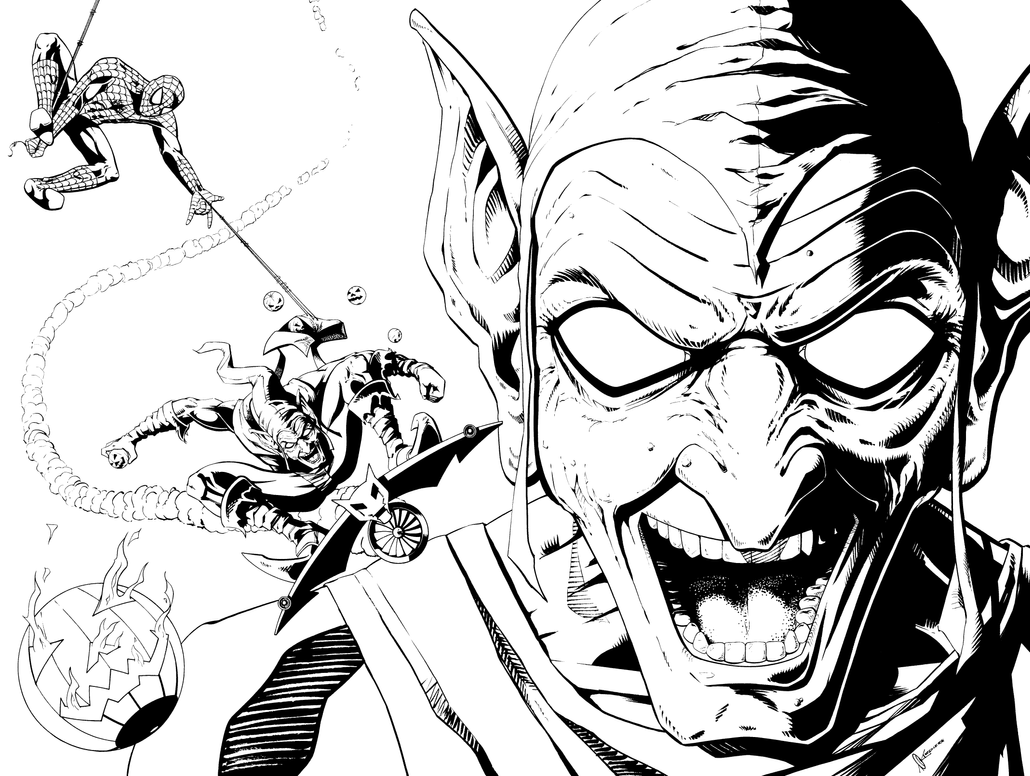 spiderman 3 coloring pages new goblin models | Green Goblin and Webhead by kentarcher on DeviantArt