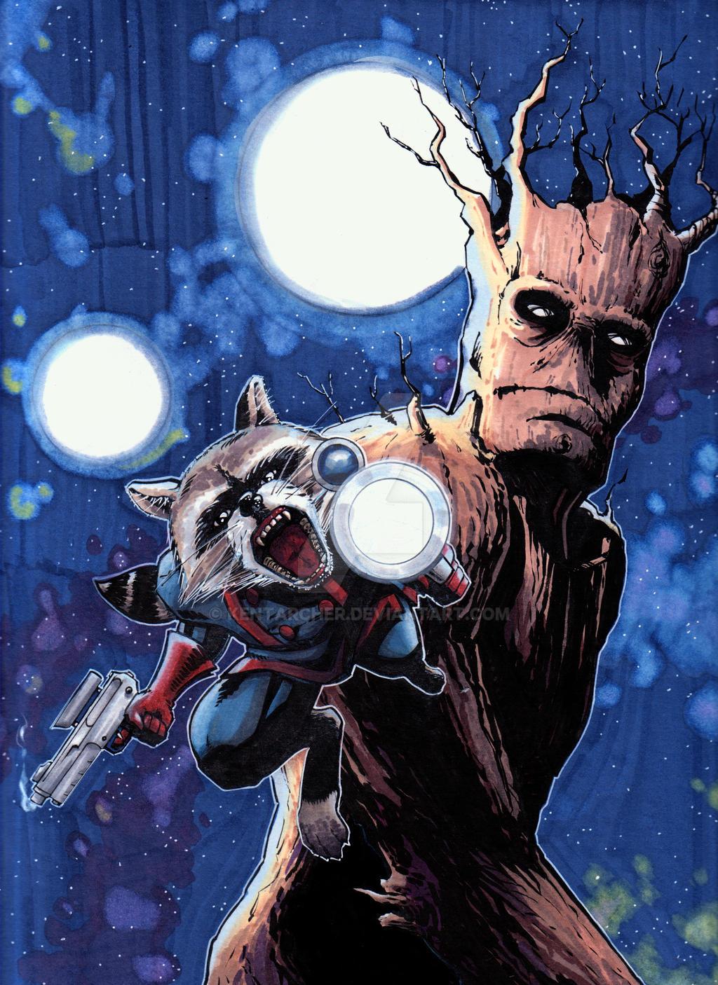 Groot and Rocket Raccoon by kentarcher