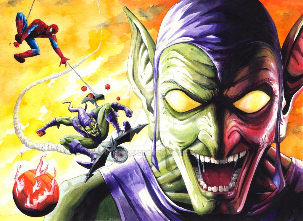 Green Goblin and Spider-Man by kentarcher