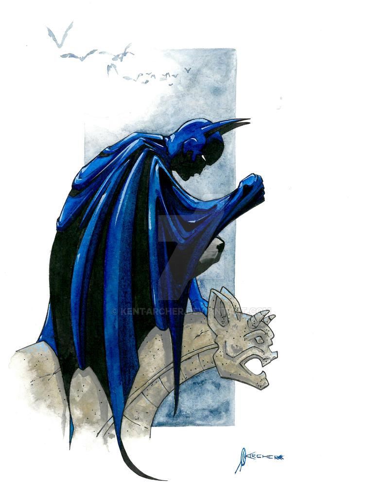 Batman watercolor sketch by kentarcher