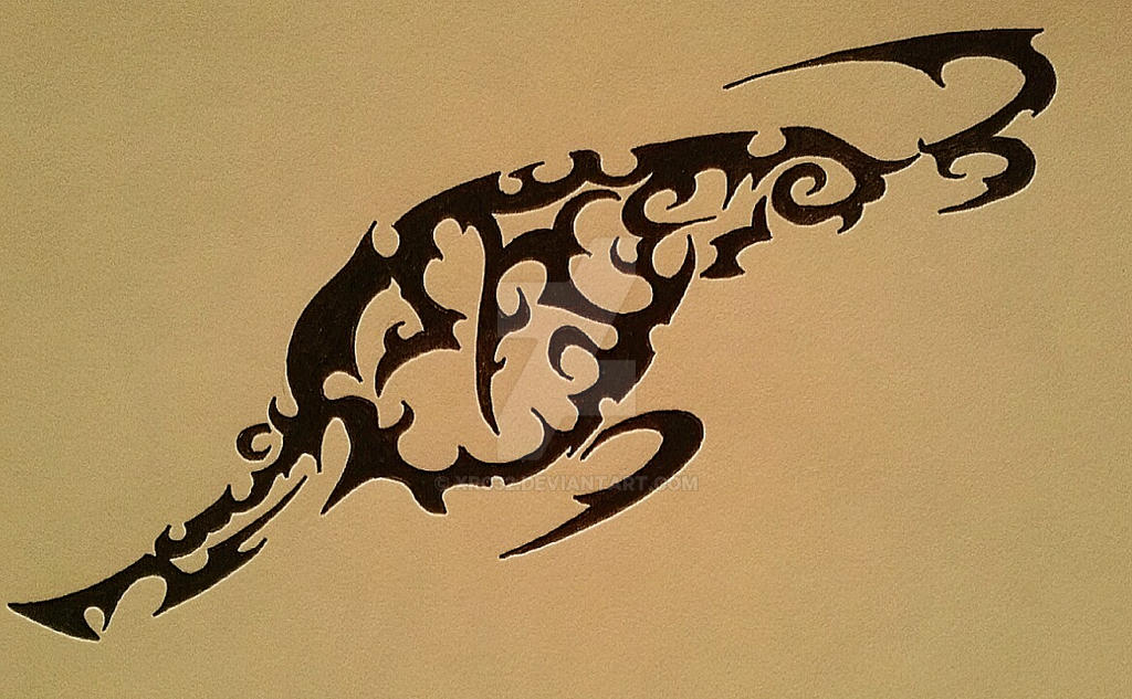 Tribal bass fish tattoo