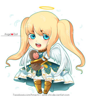 Chibi Angel with cute pet by ama-chii