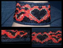 Fire Heart Bracelet by PeripheralBeing