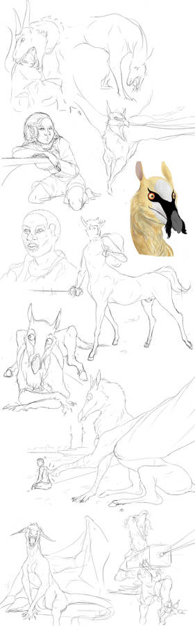 Sketch Dump 1 - People And Mythic Creatures