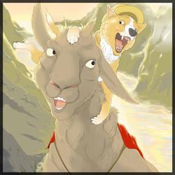 Corgi And Llama Buddies by Aymochtin-Captain