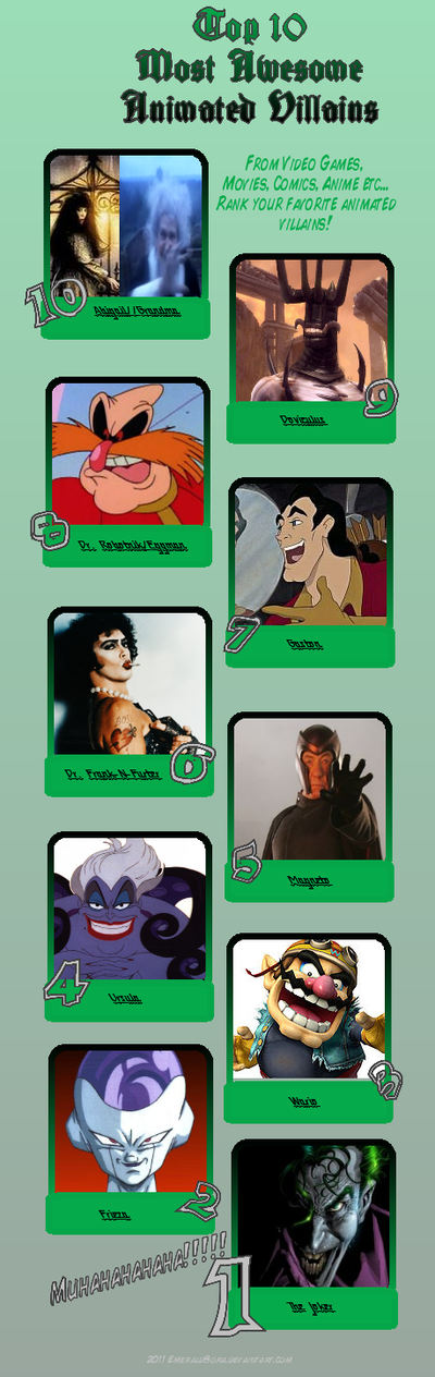 My Top 10 Most Awesome Villains by DiamondbangerWulf