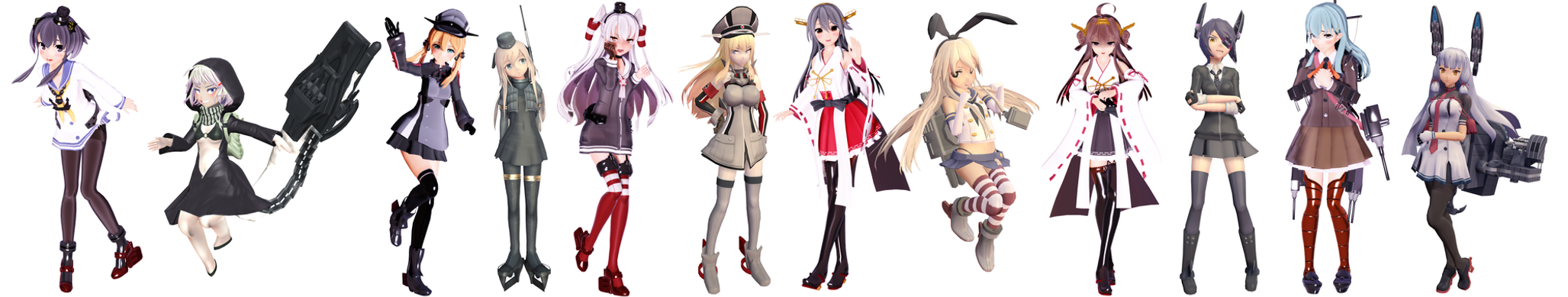 MMD Kancolle poses collab by RaiR-211
