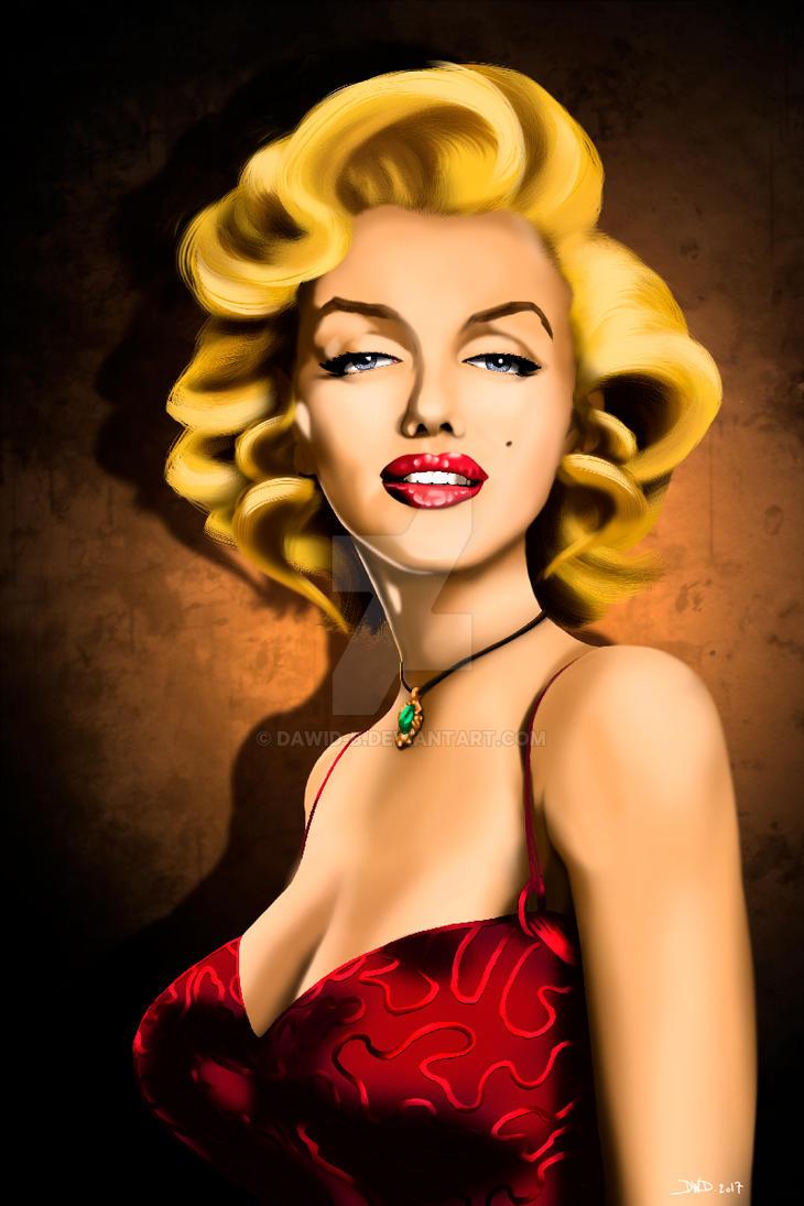 Marilyn Monroe portrait caricature by Dawid-B