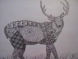 Zentangled Deer by TakaTheSquirrel