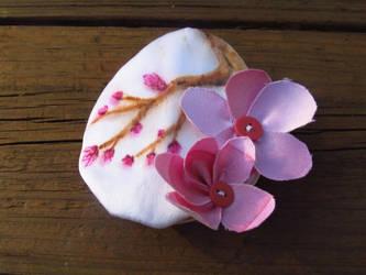 Silk cherry blossoms and little buttons by Larkynn