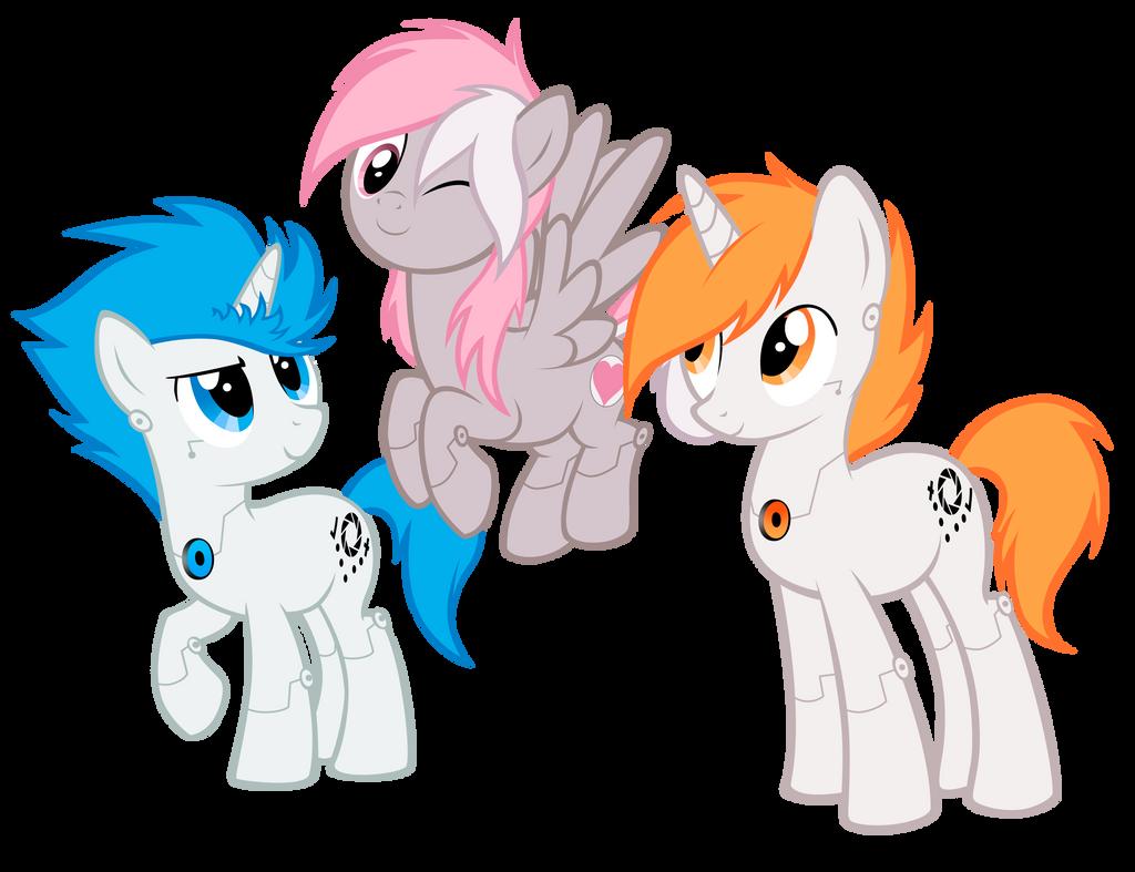 Portal ponies by Vampirenok