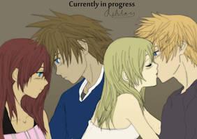 Kairi Sora Namine Roxas Fanart progress 2 by Avidityy