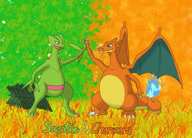 Charizard and Sceptile by Dav027