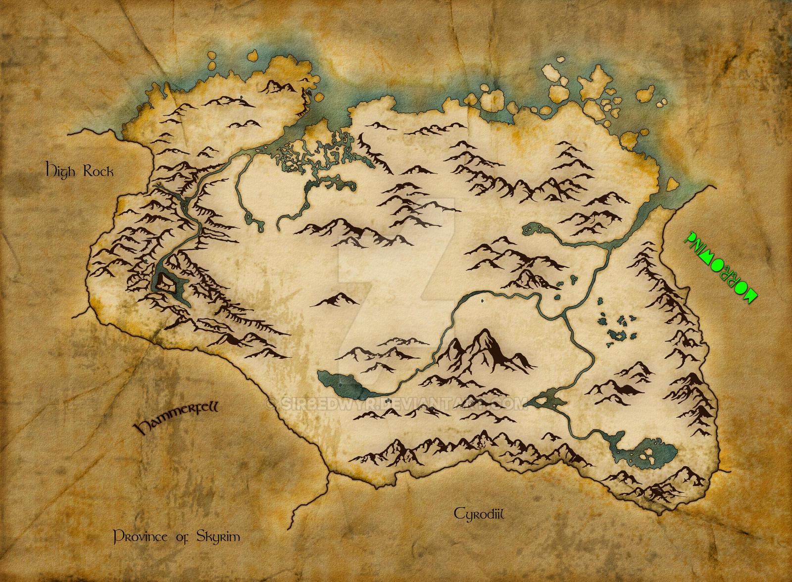 Skyrim World Map WIP By SirBedwyr