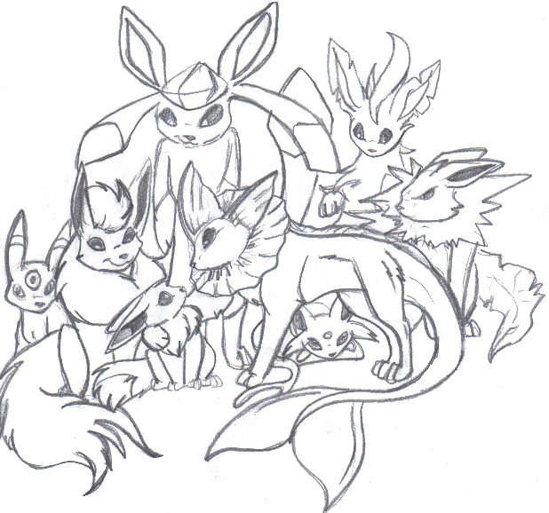 Eevee family evolution by luckyferret06 on deviantart for Eevee coloring pages to print