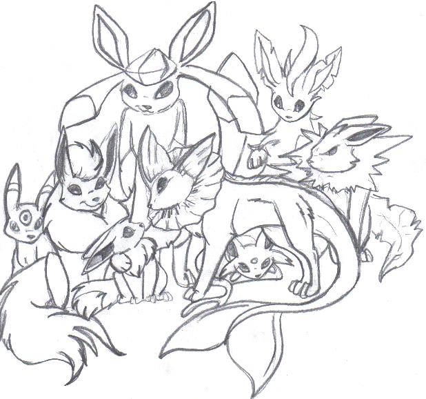 Eevee Family Evolution by luckyferret06