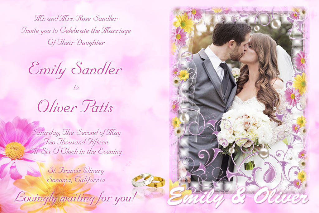 Wedding Invitation Violet Flowers Theme Template By Paographicstemplates On DeviantArt