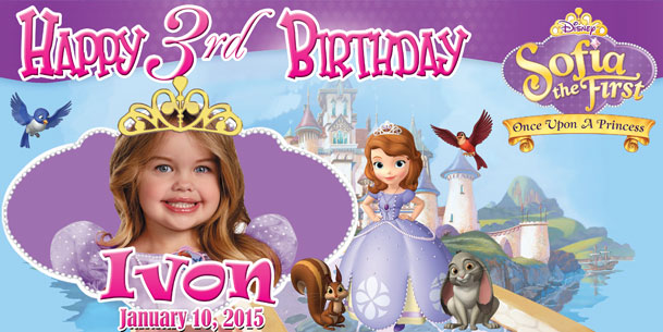 Birthday Tarpaulin Disney Sofia the First Template by