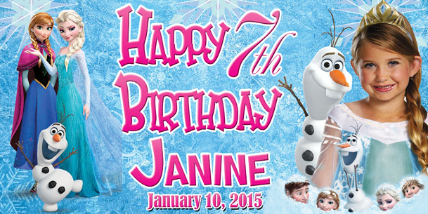 Cartoon Character Design For Tarpaulin : Birthday tarpaulin disney frozen template by