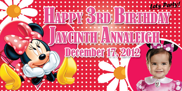 Birthday Tarpaulin Minnie Mouse Theme Template By Paographicstemplates