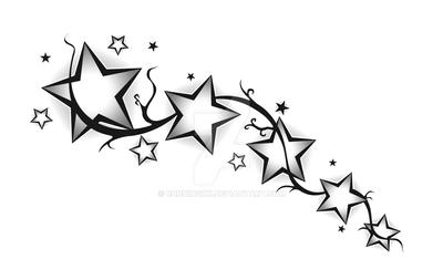 Tattoo Stars Floral by RunningXx