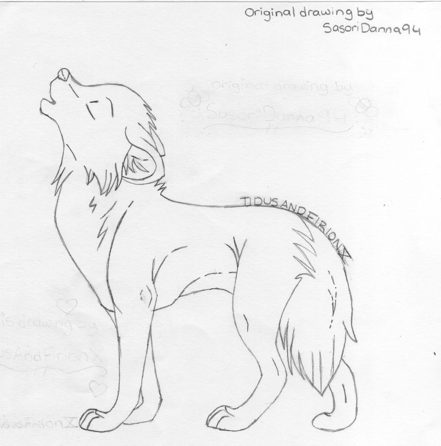 Simple howling wolf sketch - photo#7