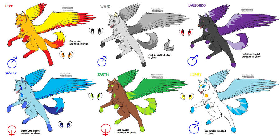 Elemental Wolf Adoptables by TidusAndFirionX on DeviantArt