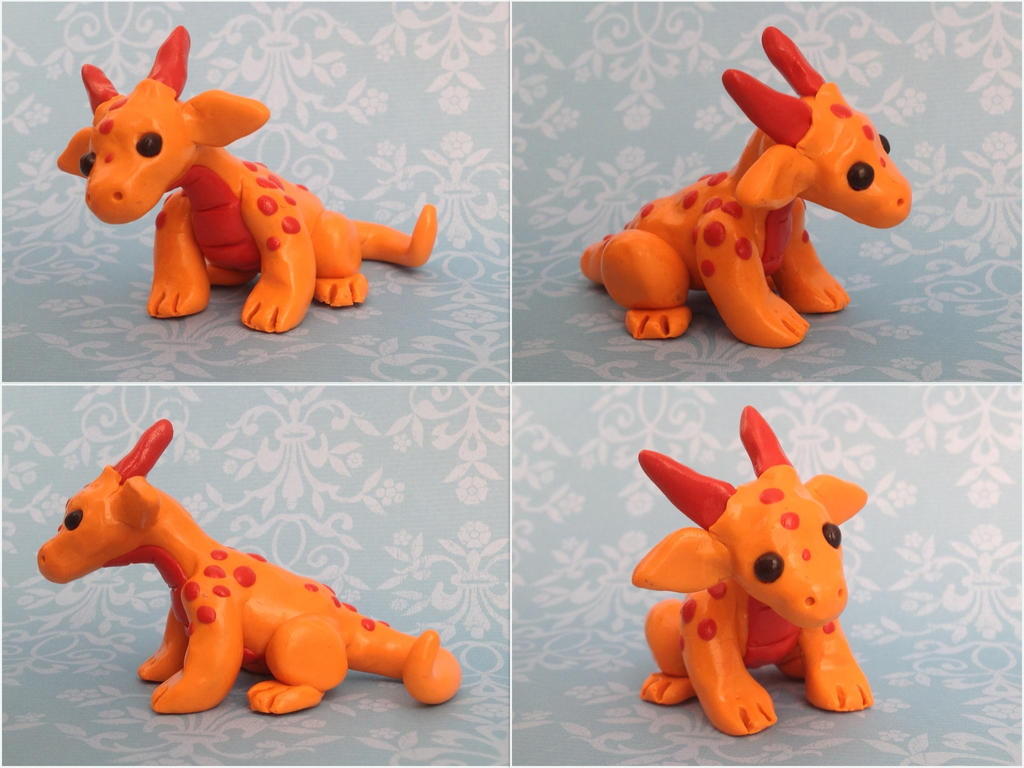 Cute orange clay dragon by forestglade on deviantart for Cute things to make out of clay