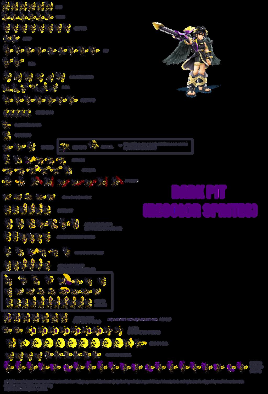 Dark Pit From Kid Icarus Sprites Sheet By Jack Hedgehog