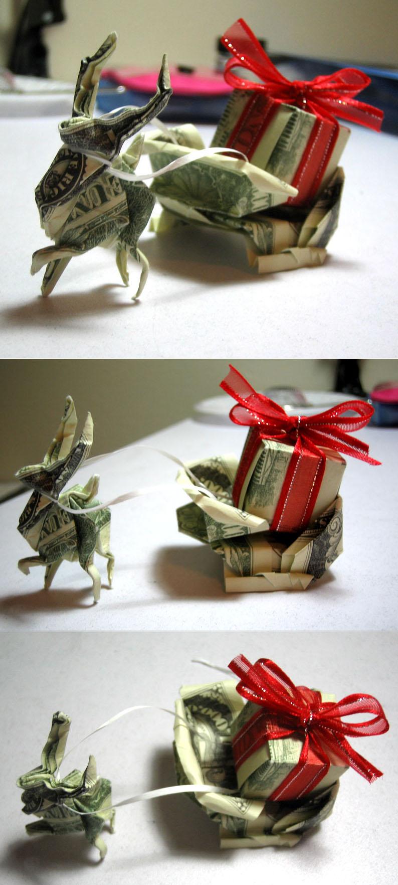 xmas reindeer sleigh $ origami by disdaindespair