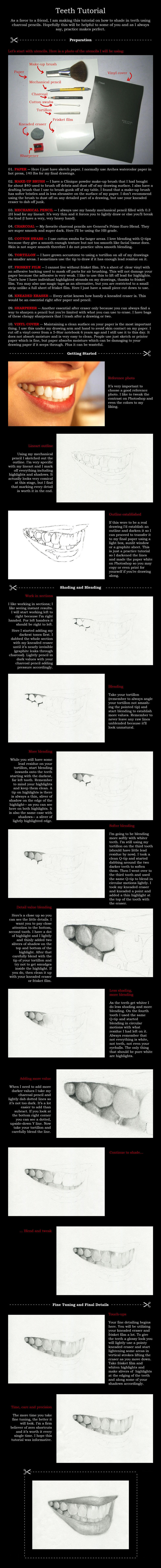 Teeth Tutorial With Charcoal by disdaindespair