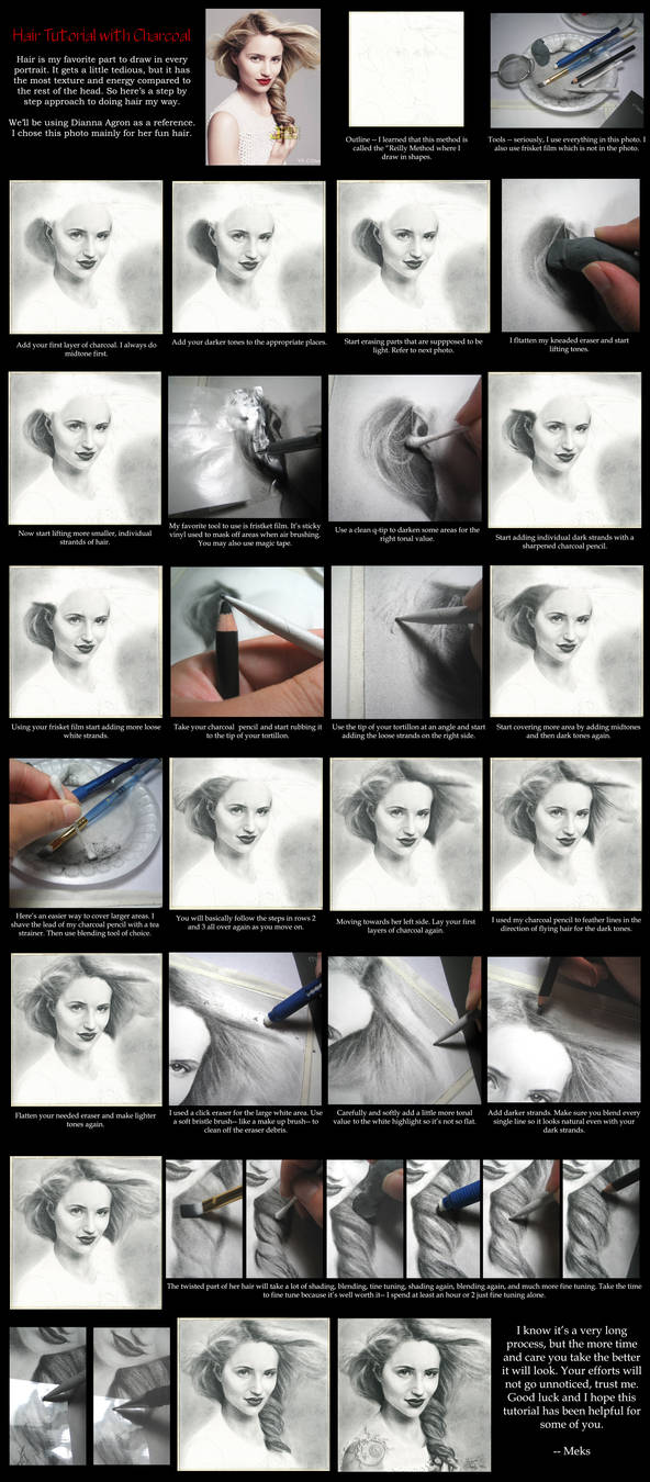 Hair Tutorial With Charcoal by desdainart