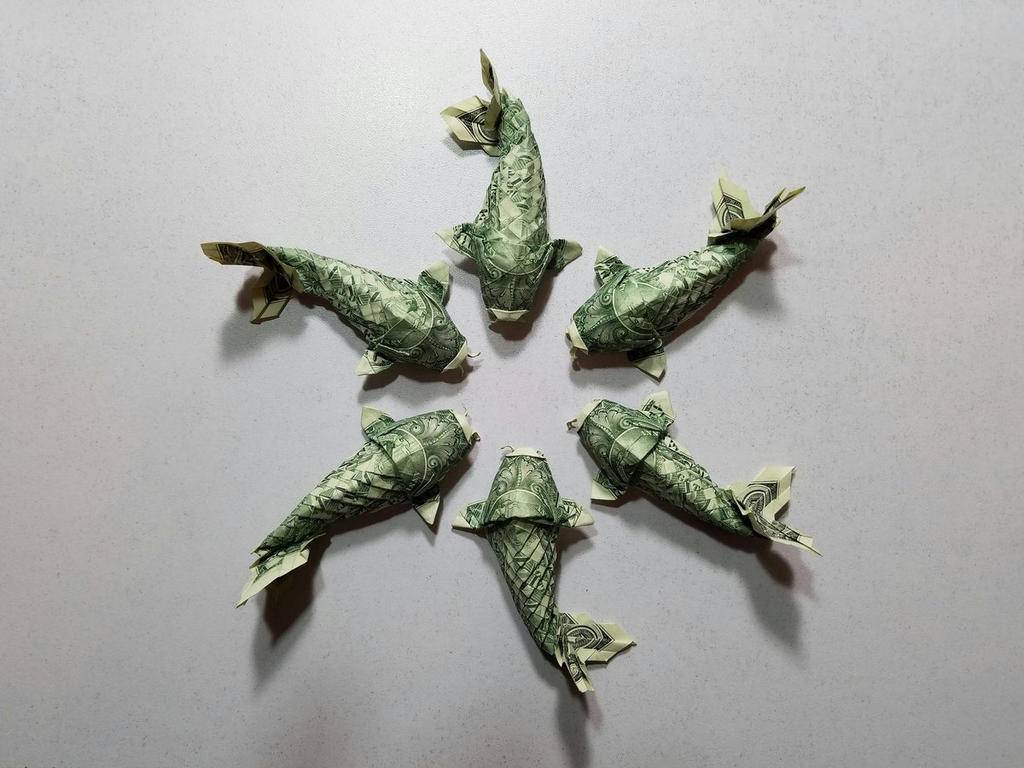 coldrain koi fish money origami by disdaindespair on