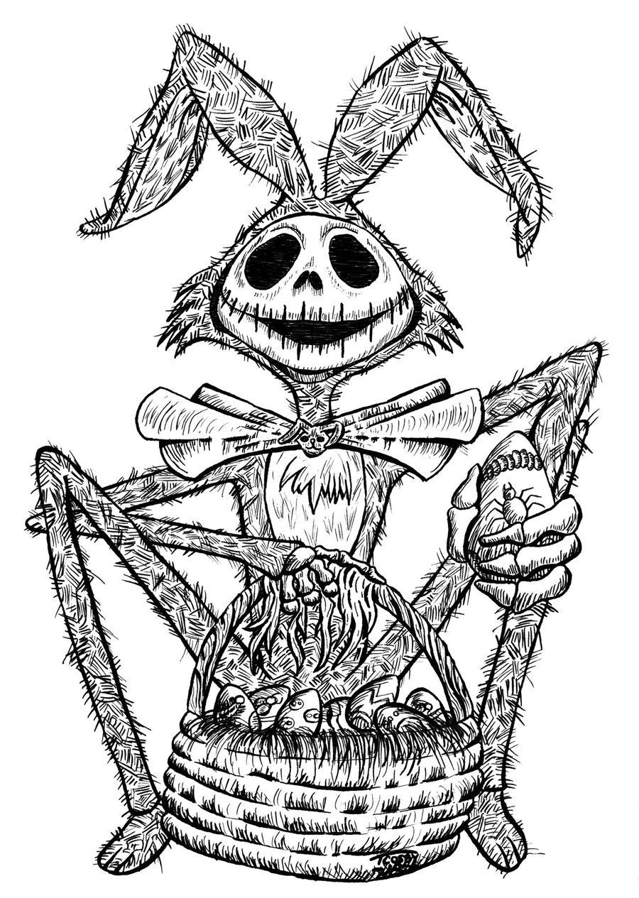 Jack Skellington Easter - Lineart by TCosbyJr