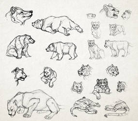 Large Mammal Sketches by GTPanda