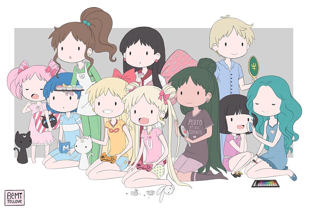 Senshi Slumber Party by BemiTellove