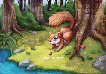 Squirrel in the woods by LuizRaffaello