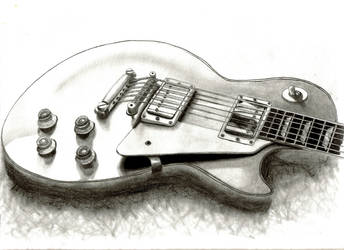 Les Paul Pencil Drawing by DanBergundy