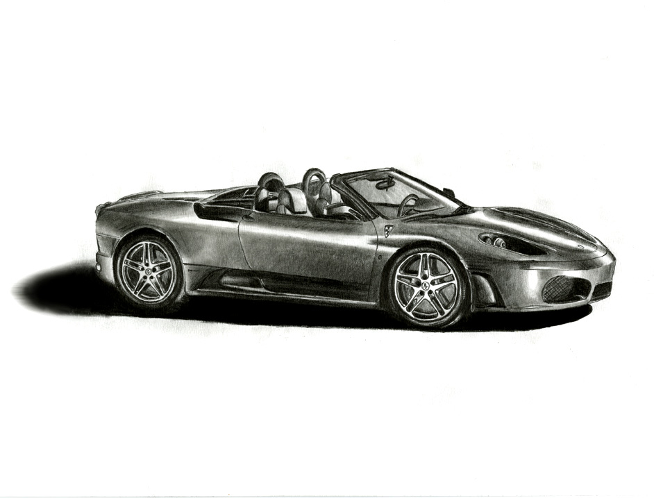 Ferrari Pencil Drawing by DanBergundy