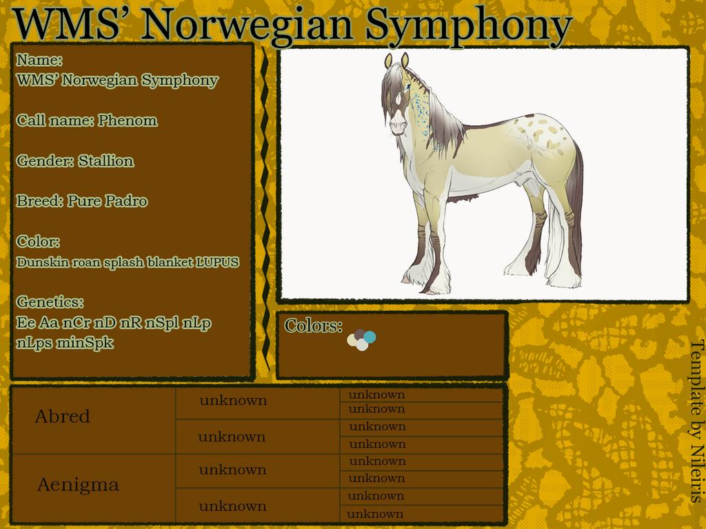 WMS' Norwegian Symphony (Phenom) ID#: 2005 by Feya-san