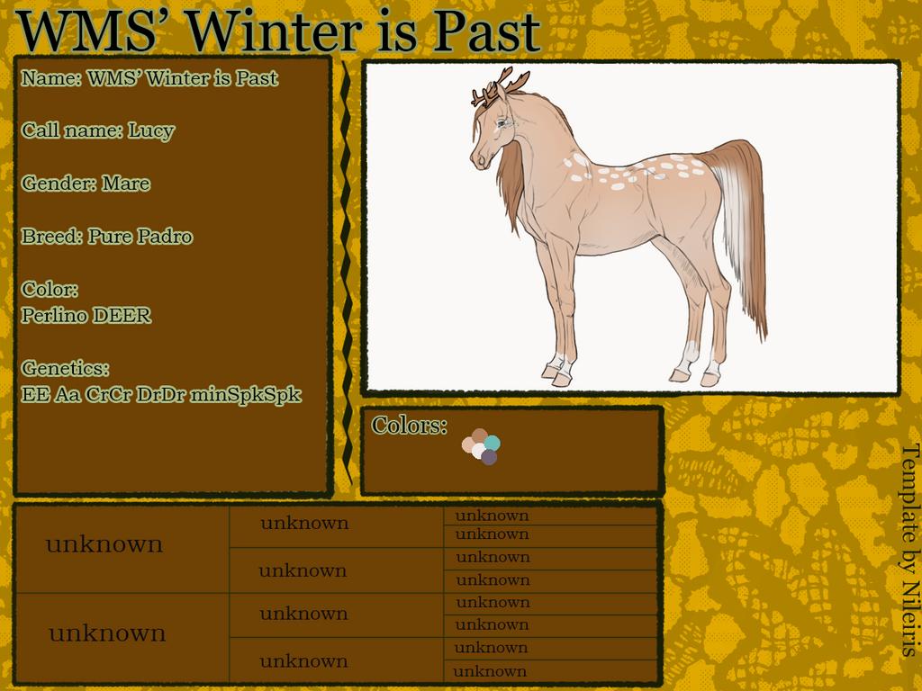 WMS' Winter is Past (Lucy) ID#: 671 by Feya-san