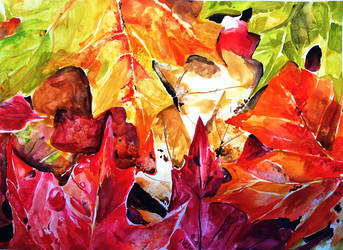 Watercolor leaves by amariesell