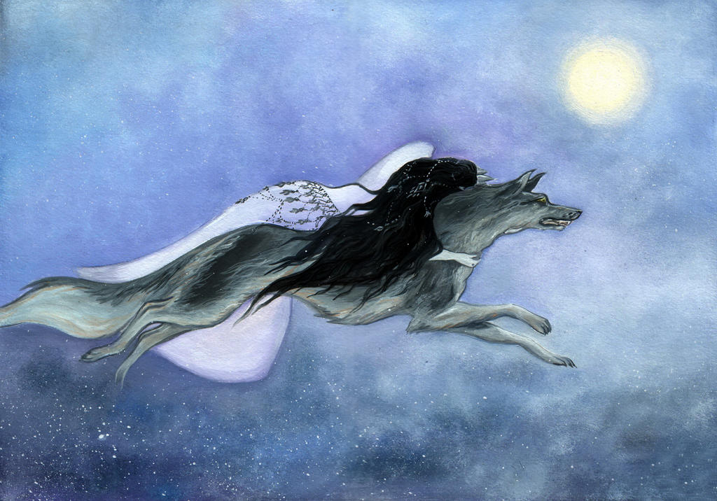 Luthien and Huan.Across the night by MarysMirages