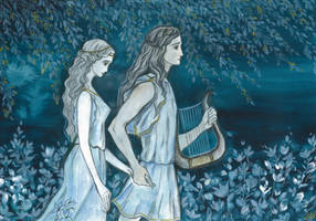 Orpheus and Eurydice in  the dark halls of Hades by Ephaistien