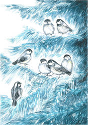 Little birds in winter by Ephaistien