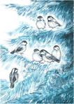 Little birds in winter